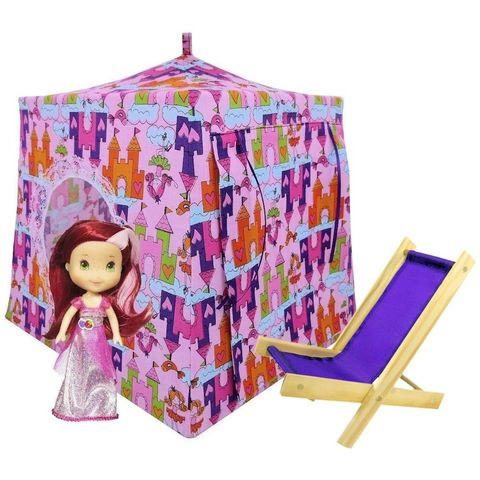 Light,pink,Toy,Play,Pop,Up,Tent,,2,Sleeping,Bags,,princess,&,castle,print,fabric,toy play pop up tent,fabric toy tents,kids play tents,light pink fabric tent,princess and castle print tent,girls toy,Stawberry Shortcake doll tent,play camping tent,fabric playhouse,gift for kids,purple sleeping bags, handmade dollhouse,toy tents and cha