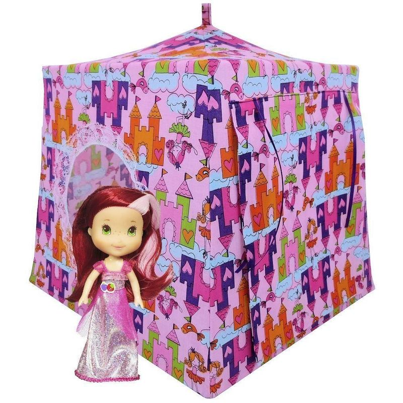 Light pink Toy Play Pop Up Tent, 2 Sleeping Bags, princess & castle print fabric - product images  of