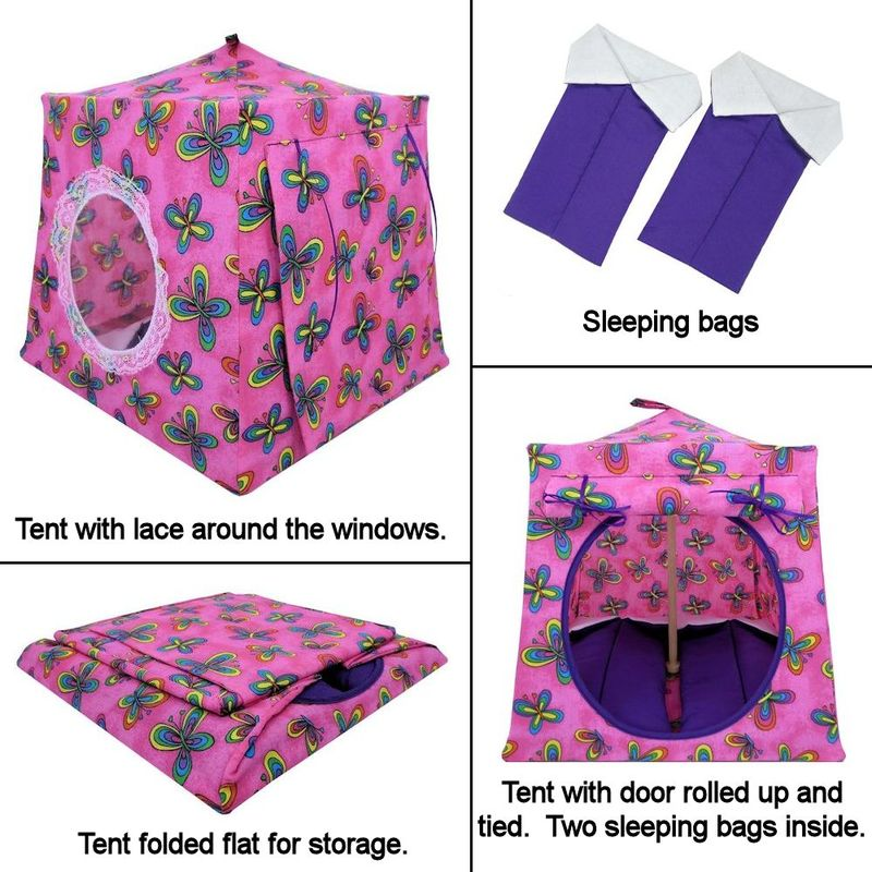 Pink Toy Play Pop Up Tent, 2 Sleeping Bags, butterfly print fabric - product images  of