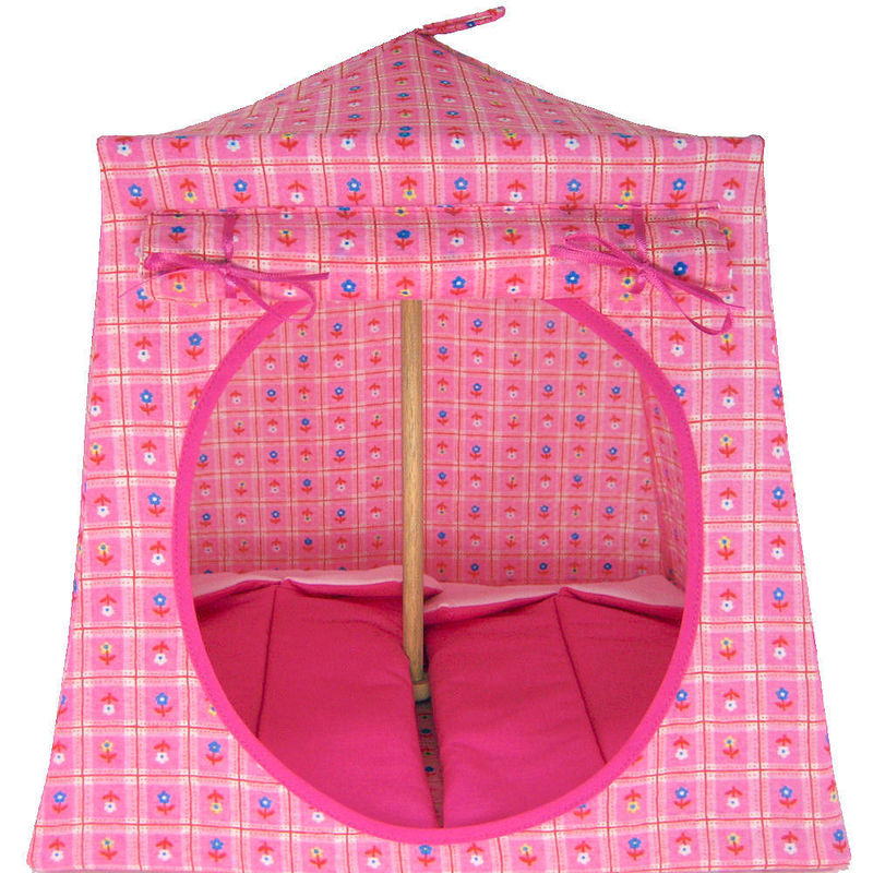 Light pink Toy Play Pop Up Tent, 2 Sleeping Bags, small flower print fabric - product images  of