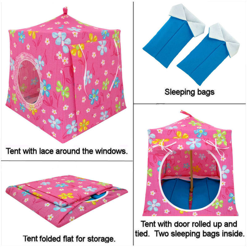 Light pink Toy Play Pop Up Tent, 2 Sleeping Bags, flower print fabric - product images  of