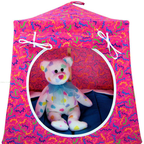 Pink,Toy,Play,Pop,Up,Tent,,2,Sleeping,Bags,,zig,zag,print,fabric,toy play pop up tent,toy pop up tent,fabric toy tents,kids play tents,pink fabric tent,zig zag print tent,childrens toys,Beanie Baby tent,stuffed animal tent,pretend camping toy,toy dollhouse,blue sleeping bags,handmade doll tent,toytentsandchairs