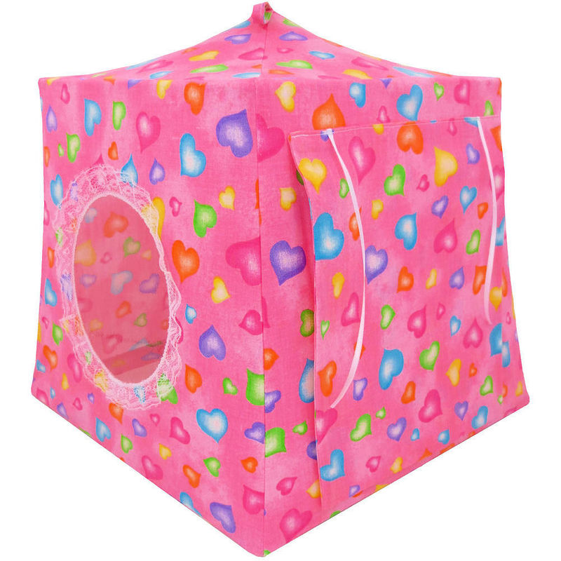 Pink Toy Play Pop Up Tent, 2 Sleeping Bags, heart print fabric - product images  of