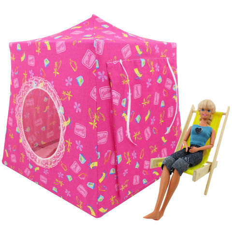 Pink,Toy,Play,Pop,Up,Tent,,2,Sleeping,Bags,,Barbie,beach,print,fabric,toy play pop up tent,fabric toy tents,kids play tents,pink fabric tent,Barbie beach print tent,toy for girl,Barbie doll tent,doll house,camping Barbie,gift for kids,dark pink sleeping bags,handmade play tent,toytentsand chairs