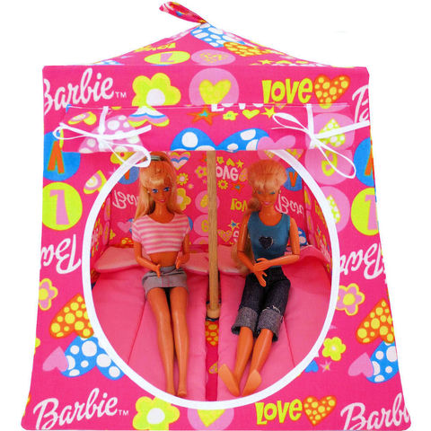 Pink,Toy,Play,Pop,Up,Tent,,2,Sleeping,Bags,,heart,&,Barbie,print,fabric,toy play pop up tent,fabric toy tents,kids play tents,pink fabric tent,heart and Barbie print tent,girls toy,Barbie tent,Barbie doll house, Barbie play camping,gift for children,pink sleeping bags,handmade doll tent,toytentsandchairs
