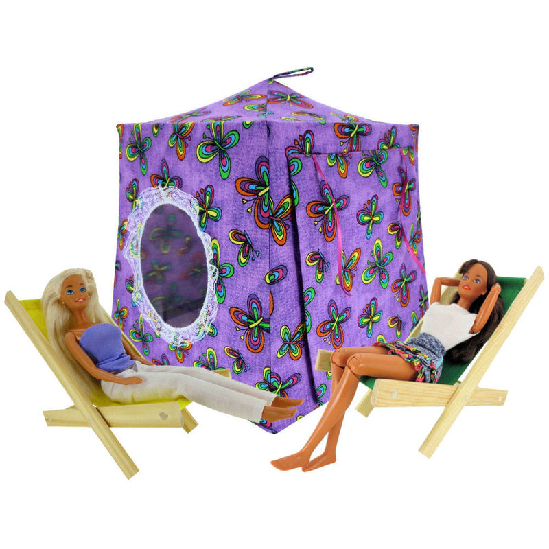 Purple Toy Play Pop Up Tent, 2 Sleeping Bags, butterfly print fabric - product images  of