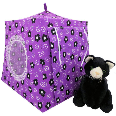 Dark,orchid,Toy,Play,Pop,Up,Tent,,2,Sleeping,Bags,,flower,print,fabric,toy play pop up tent,purple fabric toy tents,kids play tents,dark orchid fabric tent,flower print tent,girls toy tent,stuffed cat tent,house for kitty,stuffed animal tent,gift for kids,sleeping bags,handmade toy tent, toytentsandchairs