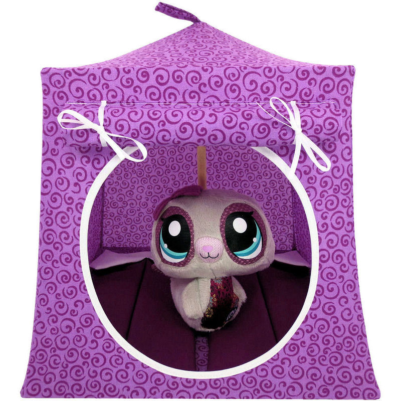 Light magenta Toy Play Pop Up Tent, 2 Sleeping Bags, swirl print fabric - product images  of