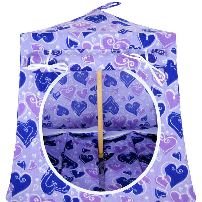 Purple Toy Play Pop Up Tent, 2 Sleeping Bags, heart print fabric - product images  of