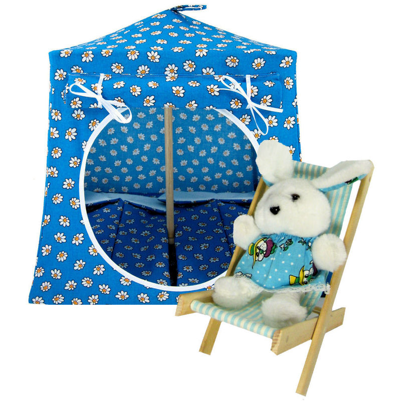 Aqua Toy Play Pop Up Tent, 2 Sleeping Bags, daisy print fabric - product images  of