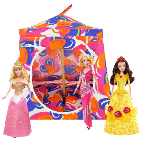 Multicolor,Toy,Play,Pop,Up,Tent,,2,Sleeping,Bags,,heart,print,fabric,toy play pop up tent,toy pop up tent,fabric toy tents,tent for dolls,multicolor tent,heart print tent,girl toy,Disney Princess tent,kids toy tent,play tent,doll camping,sleeping bags,handmade doll tent,toytentsandchairs