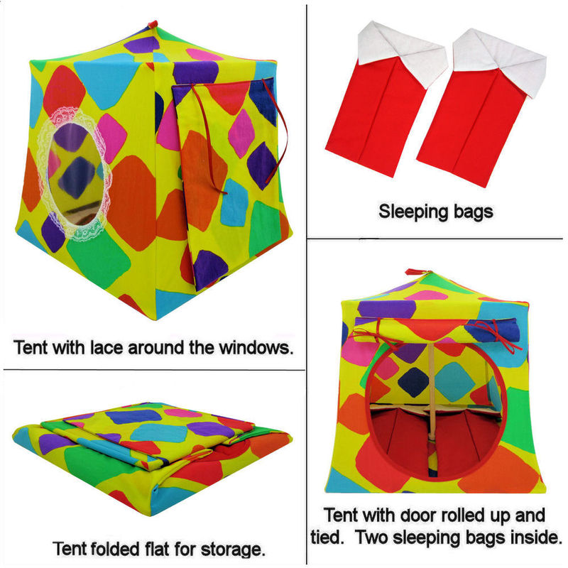 Yellow Toy Play Pop Up Tent, 2 Sleeping Bags, multicolor print fabric - product images  of