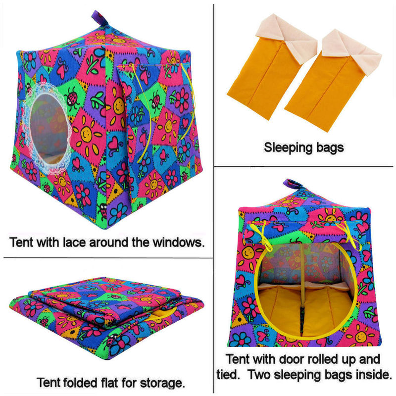 Multicolor Toy Play Pop Up Tent, 2 Sleeping Bags, flower & ladybug print fabric - product images  of