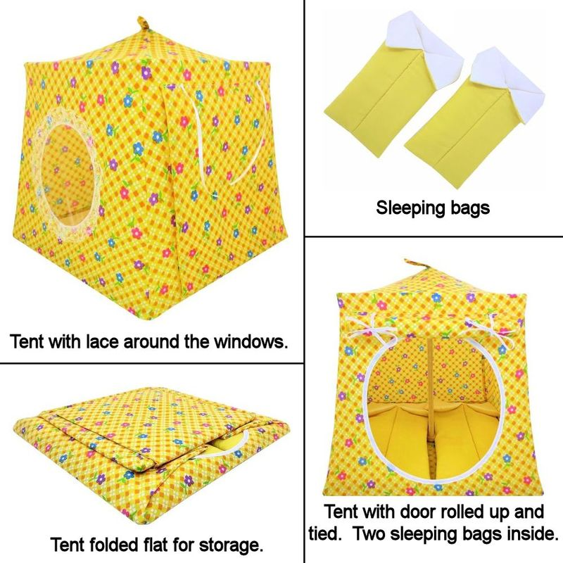 Yellow Toy Play Pop Up Tent, 2 Sleeping Bags, check & flower print fabric - product images  of