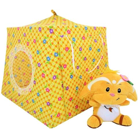 Yellow,Toy,Play,Pop,Up,Tent,,2,Sleeping,Bags,,check,&,flower,print,fabric,toy play pop up tent,fabric toy tents,kids play tents,yellow fabric tent,check and flower print tent,toy for girls,Neopet tent,dollhouse,tent for stuffed animal,gift for kids,yellow sleeping bags,handmade play tent, toytentsandchairs
