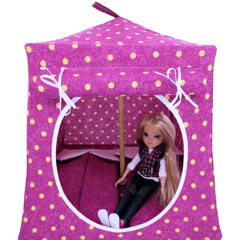 Burgundy Toy Play Pop Up Tent, 2 Sleeping Bags, polka dot print fabric - product images  of