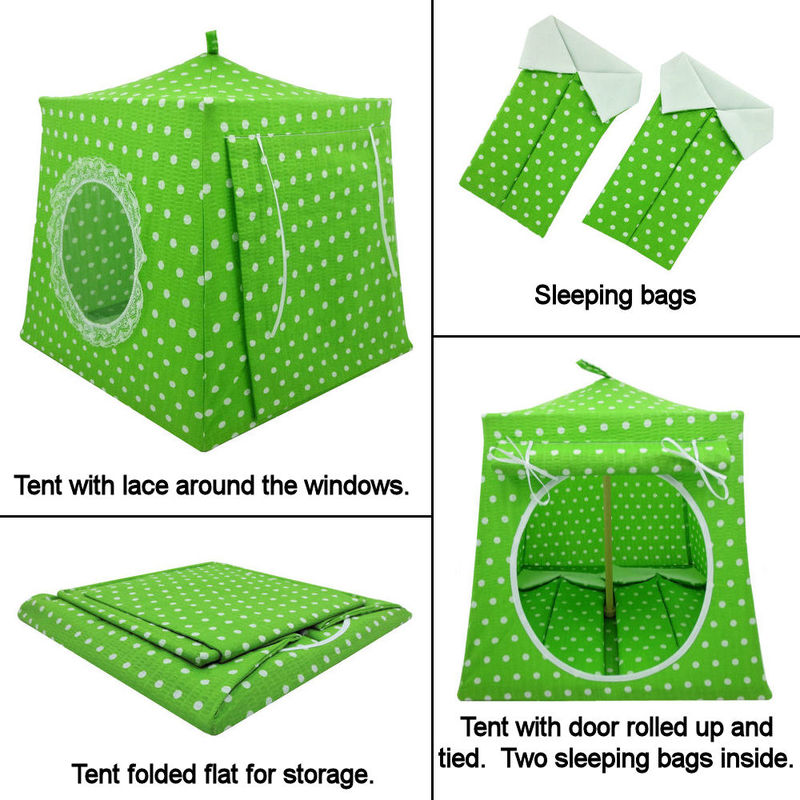 Bright green Toy Play Pop Up Tent, 2 Sleeping Bags, white polka dot print fabric - product images  of
