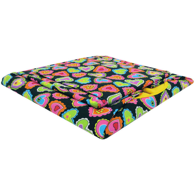 Black Toy Play Pop Up Tent, 2 Sleeping Bags, heart print fabric - product images  of