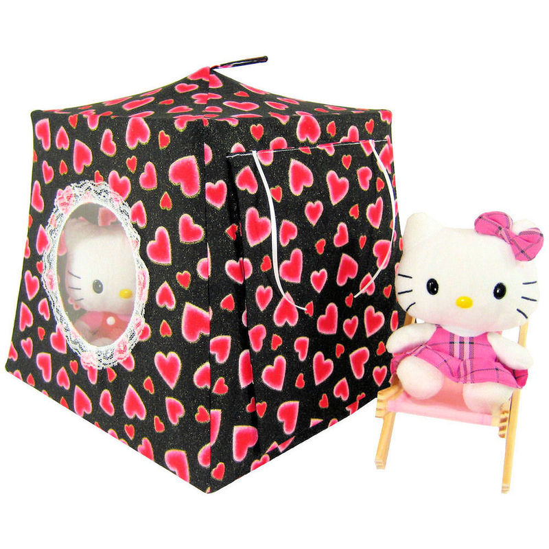 Black Toy Play Pop Up Tent, 2 Sleeping Bags, sparkling heart print fabric - product images  of