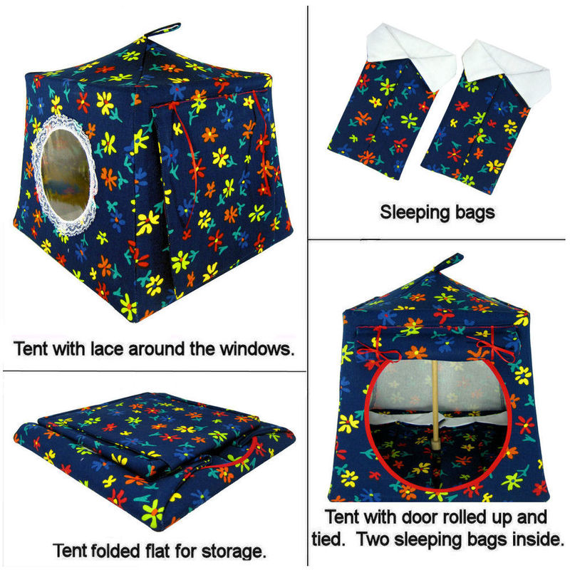 Navy blue Toy Play Pop Up Tent, 2 Sleeping Bags, flower print fabric - product images  of