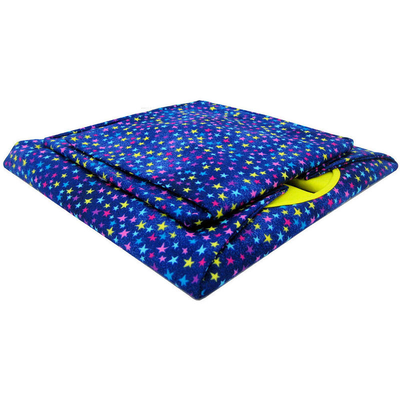 Royal blue Toy Play Pop Up Tent, 2 Sleeping Bags, colored star print fabric - product images  of