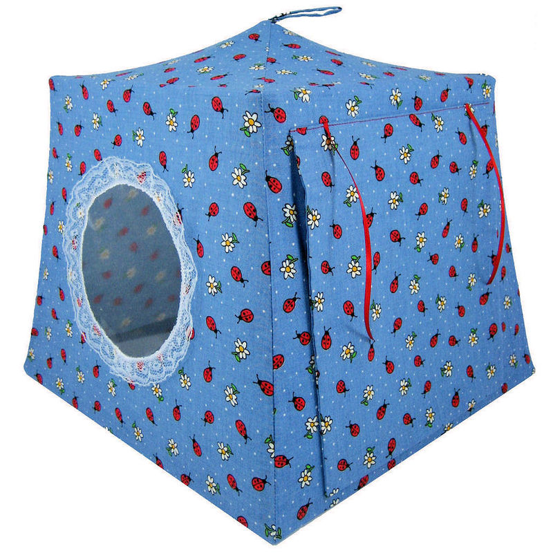 Blue Toy Play Pop Up Tent, 2 Sleeping Bags, ladybug & flower print fabric - product images  of