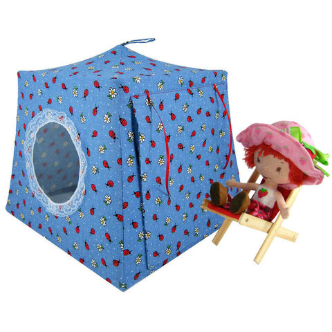 Blue,Toy,Play,Pop,Up,Tent,,2,Sleeping,Bags,,ladybug,&,flower,print,fabric,toy play pop up tent,toy pop up tent,fabric toy tents,kids play tents,light blue tent,ladybug print tent,toy for girls,Strawberry Shortcake, doll house,toy tent,toys for kids,sleeping bags,handmade doll tents, toytentsandchairs