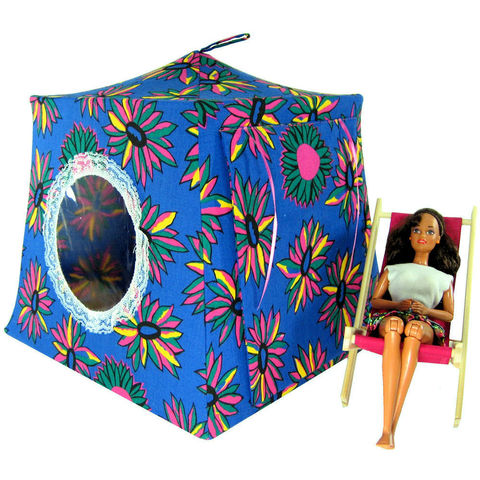 Blue,Toy,Play,Pop,Up,Tent,,2,Sleeping,Bags,,daisy,print,fabric,toy play pop up tent,toy pop up tent,fabric toy tents,kids play tents,blue fabric tent,daisy print tent,childs toy,Barbie doll tent,tent for dolls,doll house,doll camping tent,sleeping bags,handmade toy tent, toytentsandchairs