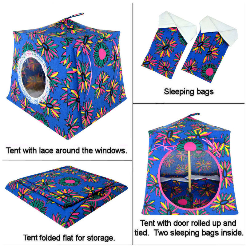 Blue Toy Play Pop Up Tent 2 Sleeping Bags Daisy Print
