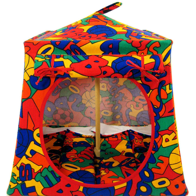 Multicolor Toy Play Pop Up Tent, 2 Sleeping Bags, sports print fabric - product images  of