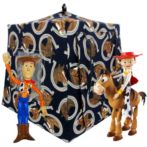 Dark,navy,blue,Toy,Play,Pop,Up,Tent,,2,Sleeping,Bags,,horse,print,fabric,toy play pop up tent,toy pop up tent,fabric toy tents,kids play tents,navy blue tent,horse print tent,boys toys,Toy Story play,animal tent,gift for kids,childrens toys,brown sleeping bags,handmade play tent,toytentsandchairs