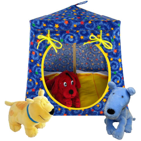 Blue,Toy,Play,Pop,Up,Tent,,2,Sleeping,Bags,,colored,star,print,fabric,toy play pop up tent,toy pop up tent,fabric toy tents,kids play tents,blue fabric tent,star print tent,toy for children,Winnie the Pooh,tent for Tigger,stuffed animal house,doll tent,yellow sleeping bags,handmade toy tent, toytentsandchairs