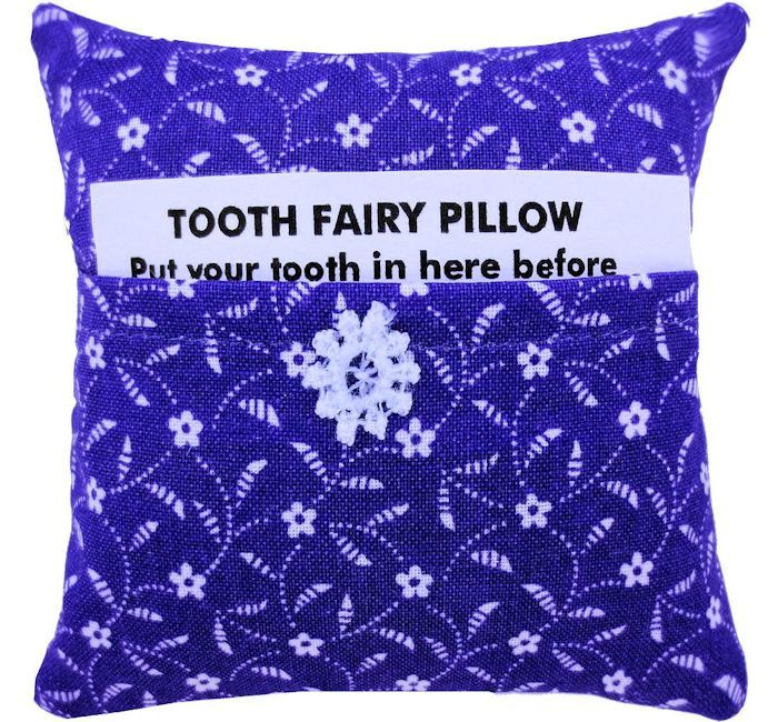 Tooth Fairy Pillow, purple, flower print fabric, white lace flower trim - product images  of