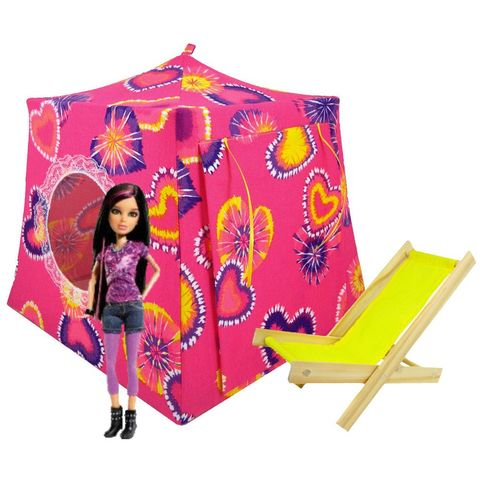 Pink,Toy,Play,Pop,Up,Tent,,2,Sleeping,Bags,,tie,dye,heart,print,fabric,toy play pop up tent,fabric toy tents,kids play tents,pink fabric tent,tie dye fabric tent,girls toys,Liv doll house,heart print tent,Barbie tent,doll camping,yellow sleeping bags,handmade toy tent,toytentsandchairs