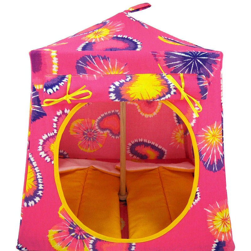 Pink Toy Play Pop Up Tent, 2 Sleeping Bags, tie dye heart print fabric - product images  of