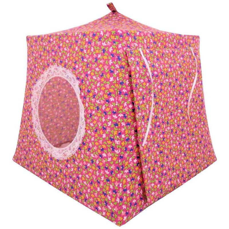 Pink Toy Play Pop Up Tent, 2 Sleeping Bags, small flower print fabric - product images  of