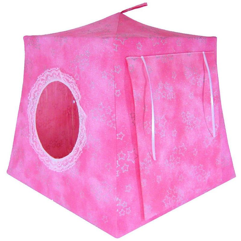Light pink Toy Play Pop Up Tent, 2 Sleeping Bags,  sparkling silver star print fabric - product images  of