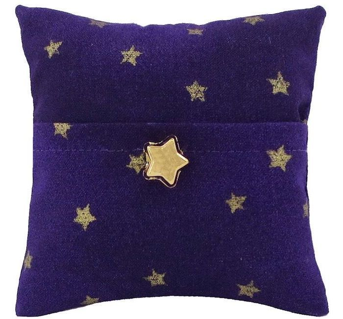 Tooth Fairy Pillow, purple, star print fabric, shiny gold star bead trim for boys or girls - product images  of