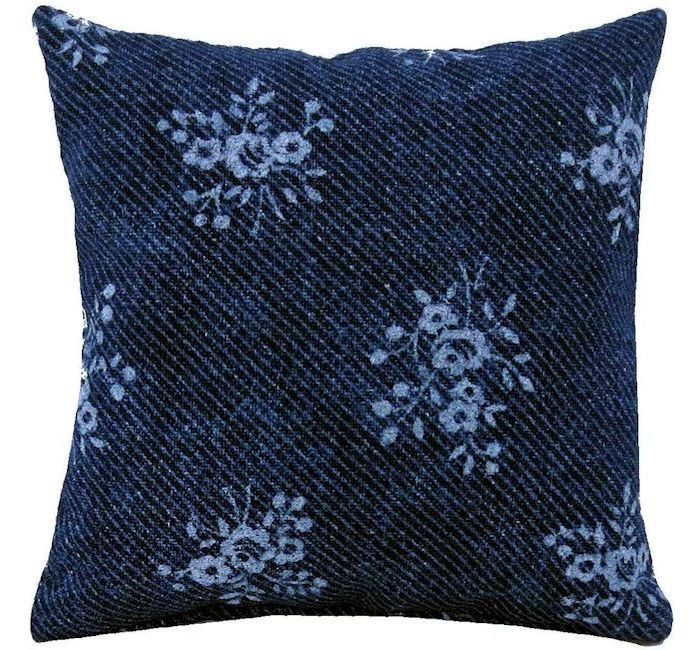 Tooth Fairy Pillow Navy Blue Flower Print Fabric White