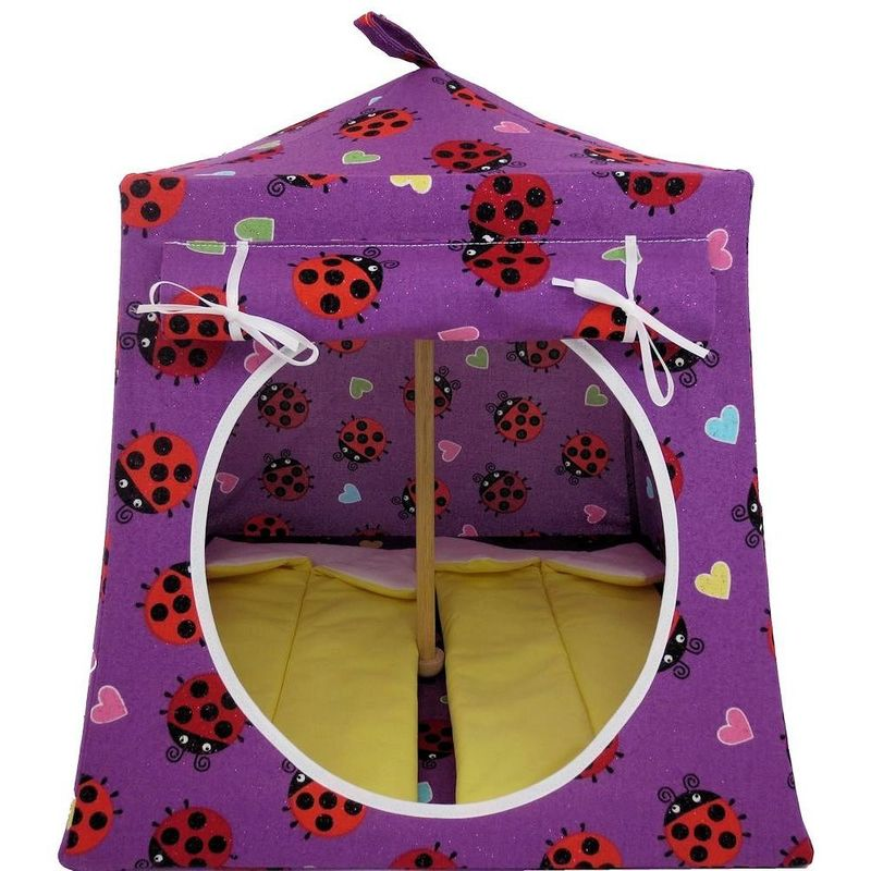 Purple Toy Play Pop Up Tent, 2 Sleeping Bags, ladybug and heart print fabric - product images  of