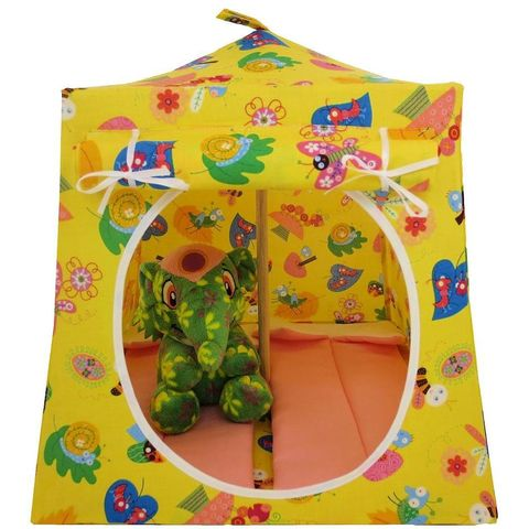 Yellow,Toy,Play,Pop,Up,Tent,,2,Sleeping,Bags,,springtime,print,fabric,toy play pop up tent,fabric toy tents,kids play tents,yellow fabric tent,springtime print tent,girl toy, Neopet tent,toy dollhouse,stuffed animal camping,gift for child,pink sleeping bags,handmade play tent, toytentsandchairs
