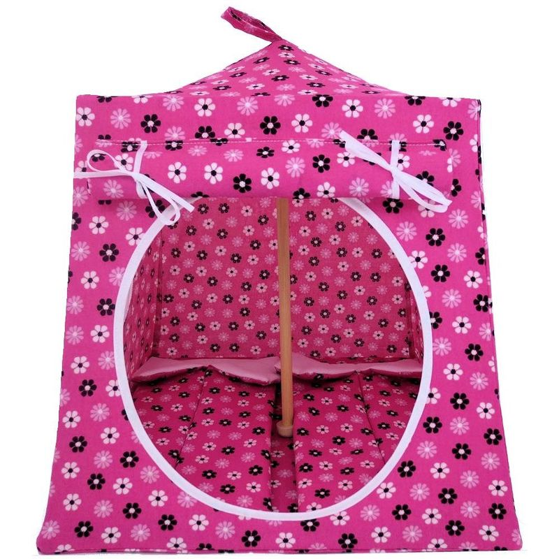 Pink Toy Play Pop Up Tent, 2 Sleeping Bags, flower print fabric - product images  of