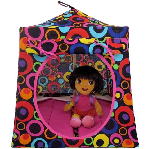 Black,Toy,Play,Pop,Up,Tent,,2,Sleeping,Bags,,colorful,circle,print,fabric,toy play pop up tent,fabric toy tents,kids play tents,black fabric tent,colorful circle print tent, girls camp toy,Dora tent,doll tent,doll camping,girls gift,pink sleeping bags,handmade dollhouse, toytentsandchairs
