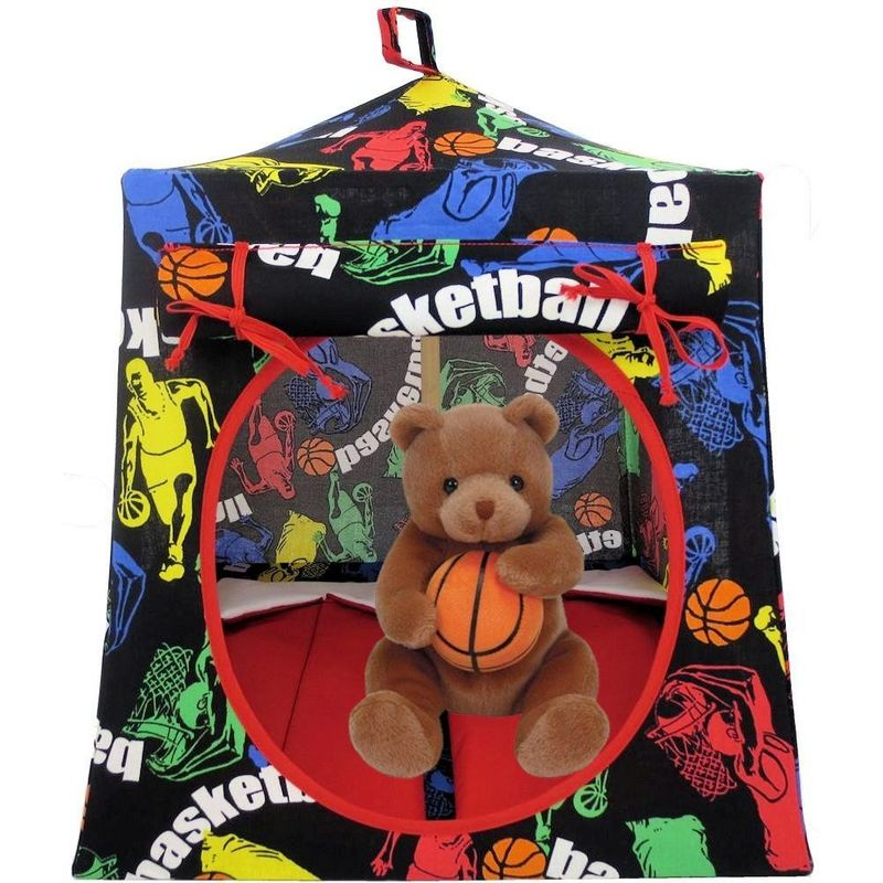 Black Toy Play Pop Up Tent, 2 Sleeping Bags, basketball print fabric - product images  of