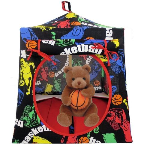 Black,Toy,Play,Pop,Up,Tent,,2,Sleeping,Bags,,basketball,print,fabric,toy play pop up tent,fabric toy tents,kids play tents,black fabric tent,basketball print tent,boy or girl toy,tent for Beanie Baby,doll tent,camping toy tent,gift for children,red sleeping bags,handmade toy tent,toytentsandchairs