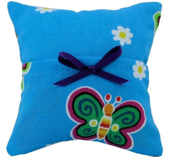 Tooth Fairy Pillow, light blue, butterfly print fabric, purple ribbon bow trim for girls - product images  of