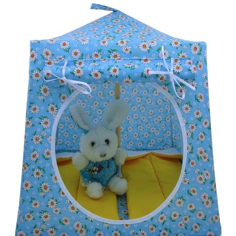 Blue,Toy,Play,Pop,Up,Tent,,2,Sleeping,Bags,,daisy,print,fabric,toy pop up tent,fabric toy tents,kids play tents,blue fabric tent,daisy print tent,girl toy,stuffed animal tent,gift for girls,dollhouse,doll tent,yellow sleeping bags,handmade play tent,toytentsandchairs