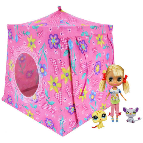Pink,Toy,Play,Pop,Up,Tent,,2,Sleeping,Bags,,butterfly,&,flower,print,fabric,toy play pop up tent,fabric toy tents,kids play tents,pink fabric tent,flower print tent,gift for children,Blythe doll tent,butterfly print tent,fabric doll house,Littlest Pet Shop,pink sleeping bags,handmade doll tent,toytentsandchairs