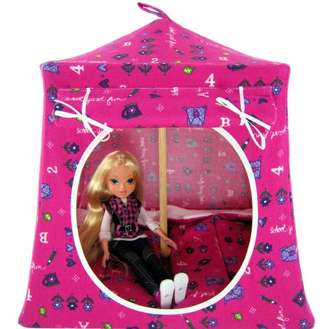Pink,Toy,Play,Pop,Up,Tent,,2,Sleeping,Bags,,school,print,fabric,toy play pop up tent,fabric toy tents,kids play tents,pink fabric tent,school print tent,gift for girl,tent for Moxie Girlz,fabric doll tent,playhouse,doll camping toy,sleeping bags,handmade dollhouse,toytentsandchairs
