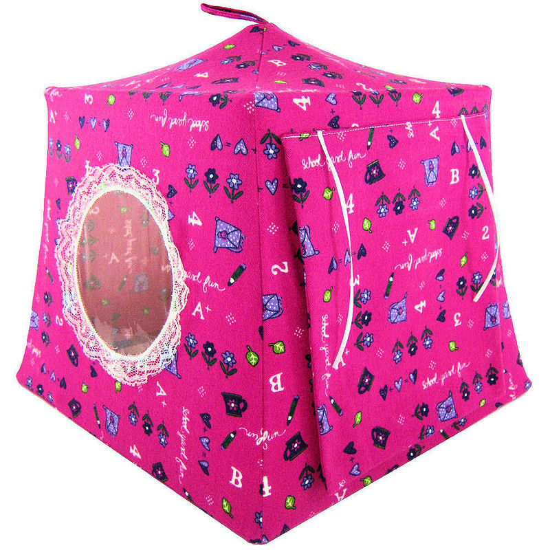 Pink Toy Play Pop Up Tent, 2 Sleeping Bags, school print fabric - product images  of